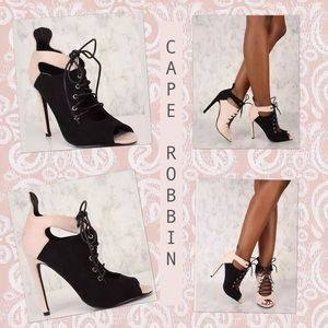 Cape Robbin Black. Pink peep toe lace up booties 7